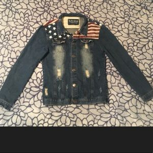Jackets & Blazers - Denim/moto jacket w/American Flag